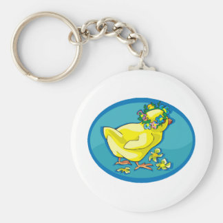 Easter Chick Basic Round Button Keychain