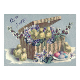 Easter Chick Basket Forget-Me-Not Card