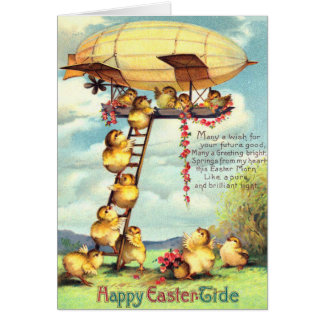 Easter Chick Blimp Zeppelin Flower Card