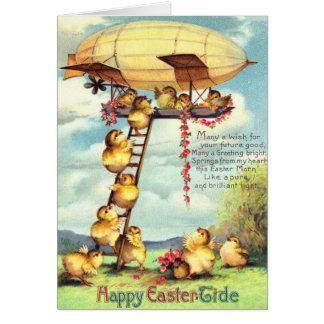 Easter Chick Blimp Zeppelin Flower Card