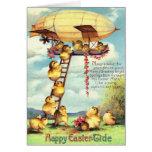 Easter Chick Blimp Zeppelin Flower Greeting Card
