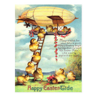 Easter Chick Blimp Zeppelin Flower Postcard