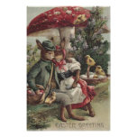 Easter Chick Bunny Couple Colored Egg Mushroom Posters