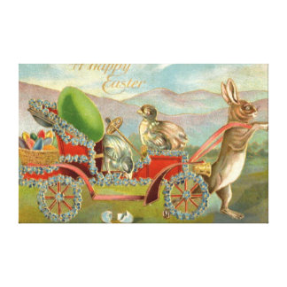 Easter Chick Bunny Egg Car Forget Me Not Canvas Print