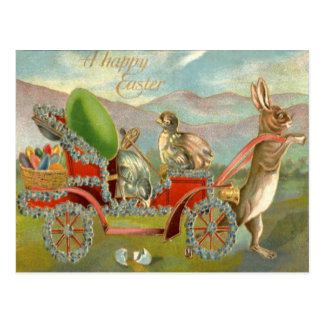Easter Chick Bunny Egg Car Forget Me Not Postcard