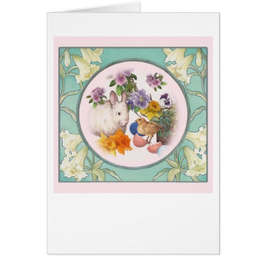 Easter Chick Bunny Lily Border Spring Illustration Card