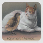 Easter Chick Cat Square Sticker