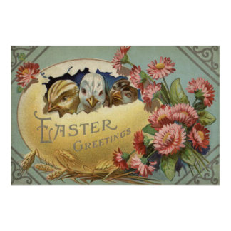 Easter Chick Chrysanthemum Colored Egg Poster