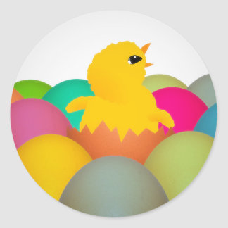 Easter chick classic round sticker