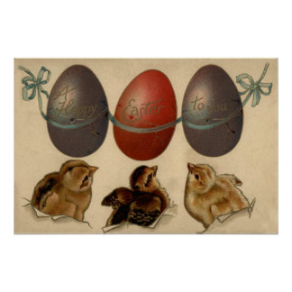 Easter Chick Colored Decorated Painted Egg Poster