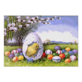 Easter Chick Colored Egg Cotton Poster