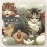 Easter Chick Colored Egg Kitten Cat Drink Coaster