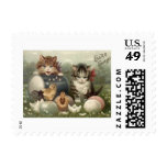 Easter Chick Colored Egg Kitten Cat Stamps