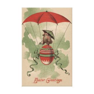 Easter Chick Colored Egg Umbrella Parachute Canvas Print