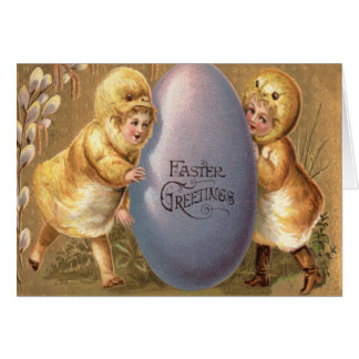 Easter Chick Costume Colored Painted Egg Greeting Card
