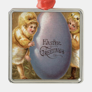 Easter Chick Costume Colored Painted Egg Square Metal Christmas Ornament