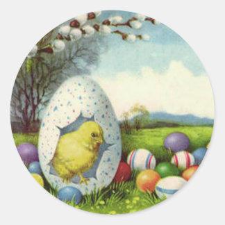 Easter Chick Cotton Colored Egg Landscape Classic Round Sticker