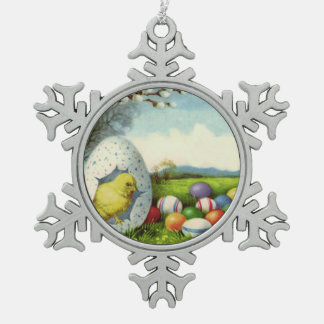 Easter Chick Cotton Colored Egg Landscape Snowflake Pewter Christmas Ornament