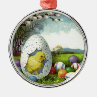Easter Chick Cotton Colored Egg Landscape Round Metal Christmas Ornament