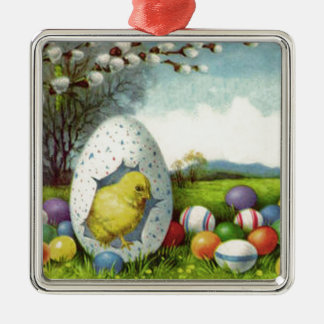 Easter Chick Cotton Colored Egg Landscape Square Metal Christmas Ornament