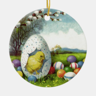 Easter Chick Cotton Colored Egg Landscape Double-Sided Ceramic Round Christmas Ornament