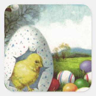 Easter Chick Cotton Colored Egg Landscape Square Sticker