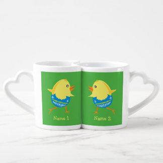 Easter Chick custom couple's mugs