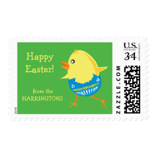 Easter Chick custom text postage stamps