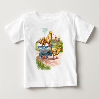 Easter Chick Egg carriage Church Landscape Daisy Baby T-Shirt