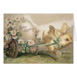 Easter Chick Egg Carriage Daisy Card