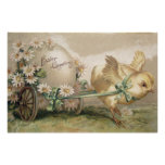 Easter Chick Egg Carriage Daisy Posters