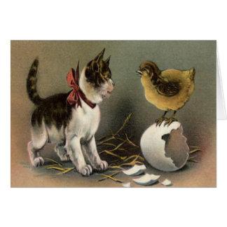 Easter Chick Egg Cat Kitten Card