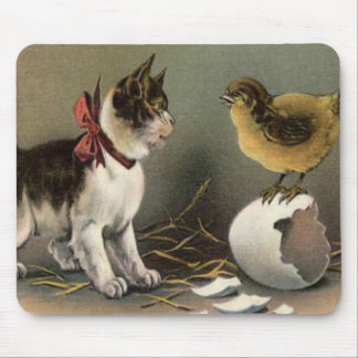 Easter Chick Egg Cat Kitten Mouse Pad