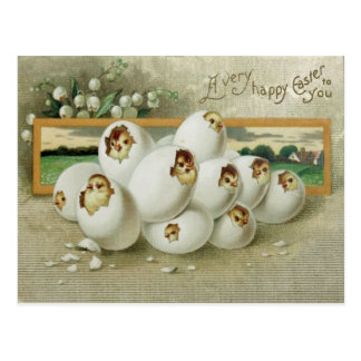 Easter Chick Egg Flower Hatching Postcard