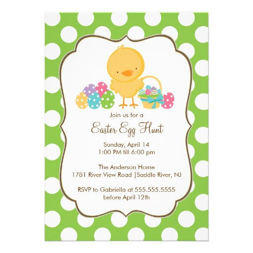 Easter Chick Egg Hunt Easter Party Invitation