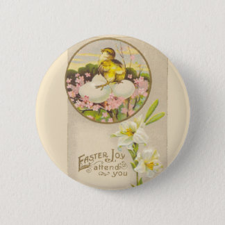 Easter - Chick & Eggs Up a Tree - Antique Postcard Button