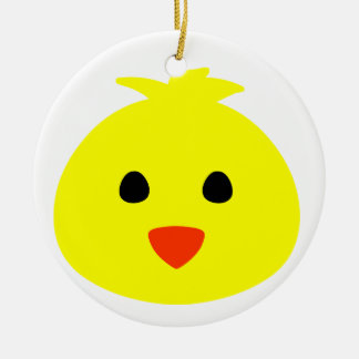 Easter Chick Face Round Ceramic Decoration