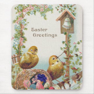 Easter Chick Forget-Me-Not Bell Mouse Pad