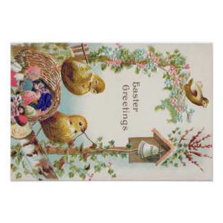 Easter Chick Forget-Me-Not Bell Poster