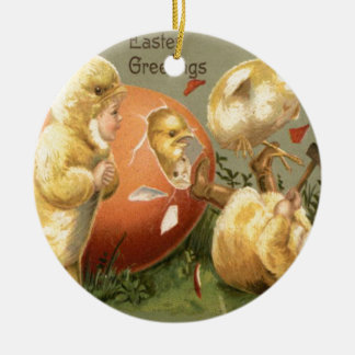 Easter Chick Girl Costume Colored Egg Double-Sided Ceramic Round Christmas Ornament