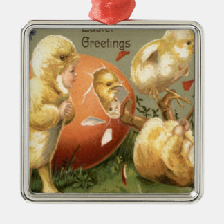 Easter Chick Girl Costume Colored Egg Square Metal Christmas Ornament