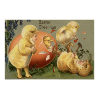 Easter Chick Girl Costume Colored Egg Poster