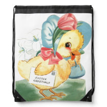 Easter Chick Greetings Drawstring Bag