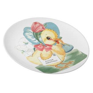 Easter Chick Greetings Melamine Plate