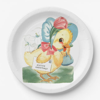 Easter Chick Greetings Paper Plate