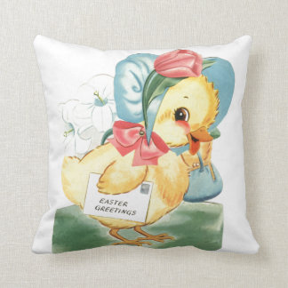 Easter Chick Greetings Pillow