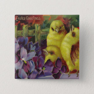 Easter Chick Greetings Pinback Button