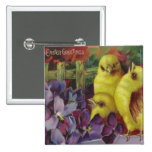Easter Chick Greetings Pinback Buttons