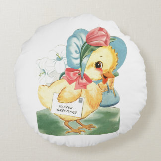 Easter Chick Greetings Round Pillow