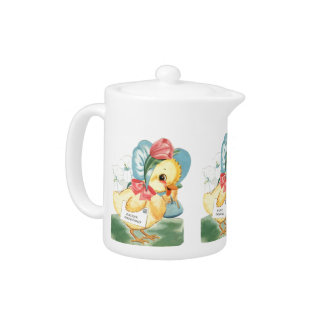 Easter Chick Greetings Teapot